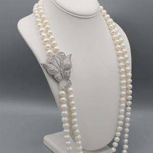 White freshwater pearl necklace butterfly silver